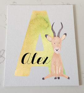 Letter A Personalised Canvas Panel