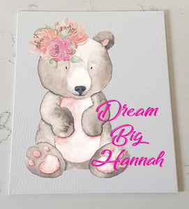 Beautiful Bear Personalised Canvas Panel