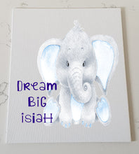 Baby Blue Elephant Personalised Canvas Panel