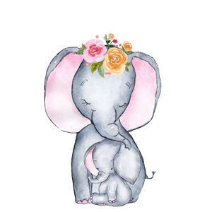 Personalised Cute Elephant Duo with Flowers Large blanket