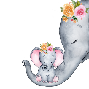 Personalised Serene Elephant Duo with Flowers Large blanket