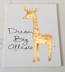 Giraffe Personalised Canvas Panel