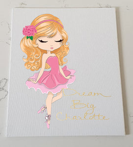 Beautiful Ballerina Girl Personalised Canvas Panel