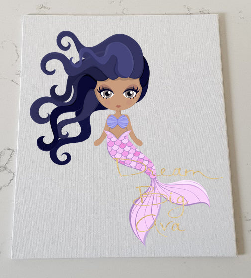 Purple Mermaid Personalised Canvas Panel