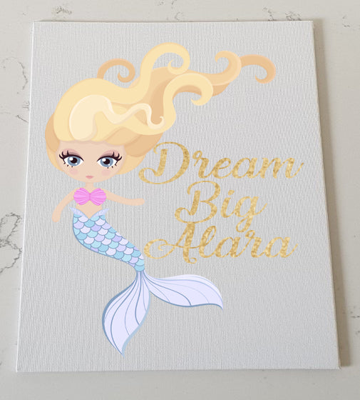 Blue Mermaid Personalised Canvas Panel