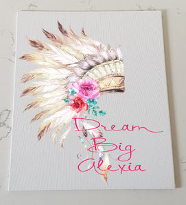 Native Headdress Pink Personalised Canvas Panel