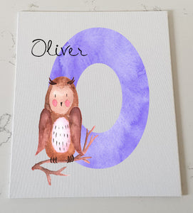 Letter O Personalised Canvas Panel