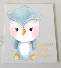 Cute Owl Personalised Canvas Panel