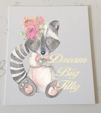 Gorgeous Raccoon Personalised Canvas Panel