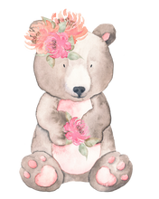 Personalised Bear with Flowers Large blanket