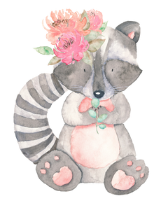Personalised Raccoon with Flowers Cuddle Blanket