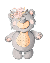 Personalised Grey Bear with Flowers Cuddle Blanket