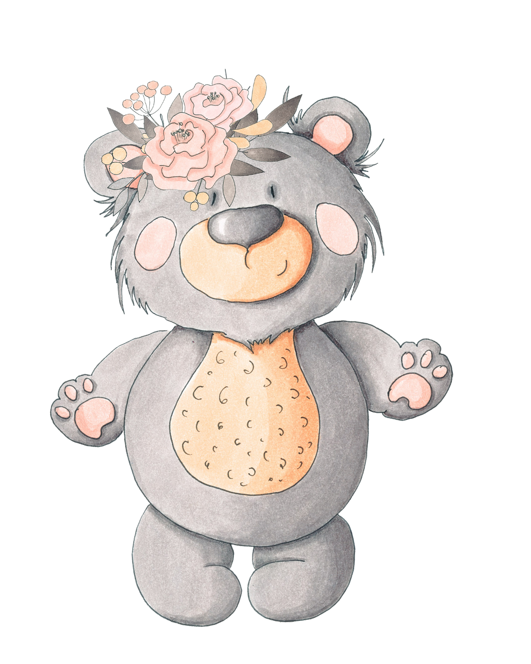 Personalised Grey Bear with Flowers Large blanket