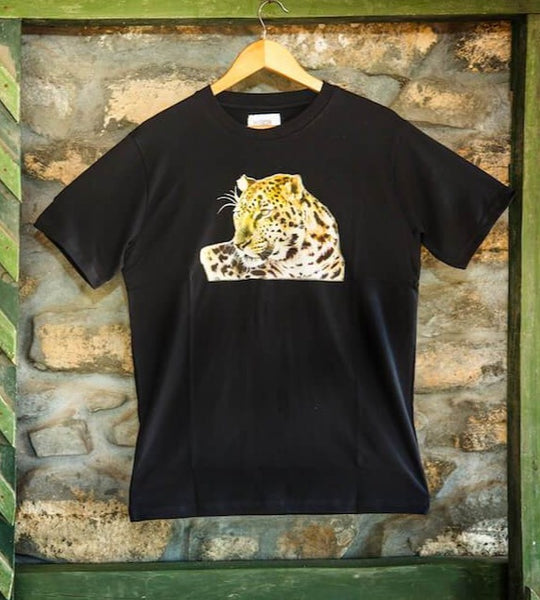 Black Leopard face printed T-Shirt - Kids