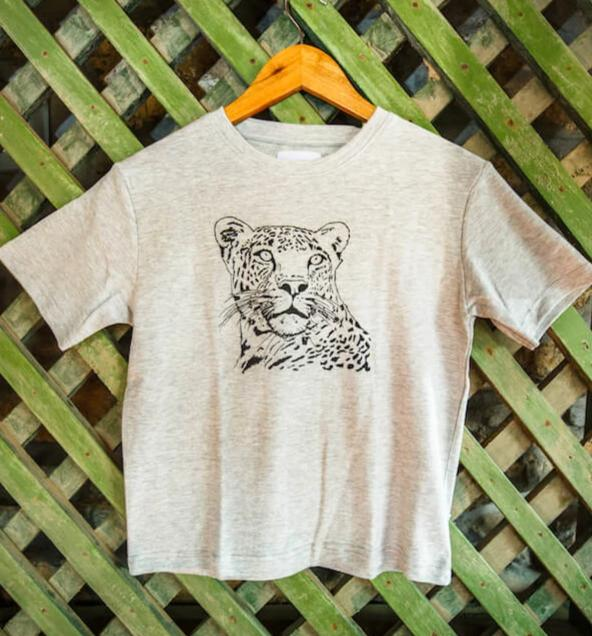 Grey Melange Leopard chest print T-shirt - Kids