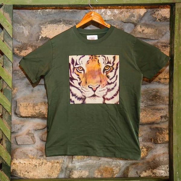 Green tiger face printed T-Shirt