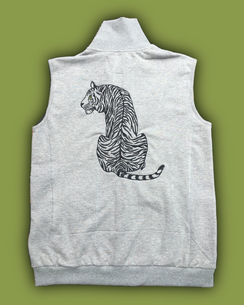 Grey melange sleeveless Fleece Jacket with long tiger embroidery - Kids