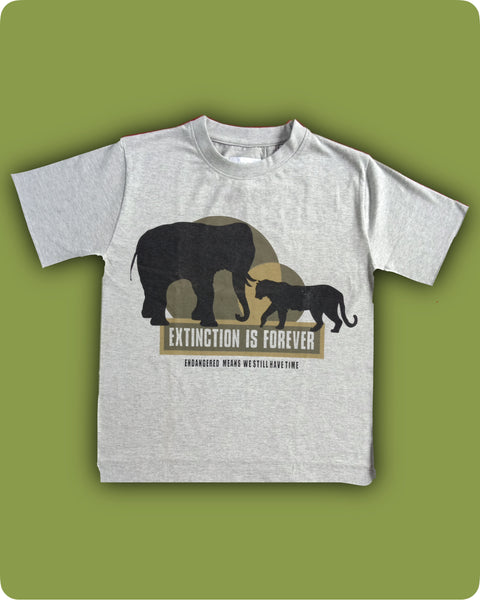 Grey Melange Extinction printed T-Shirt - Kids