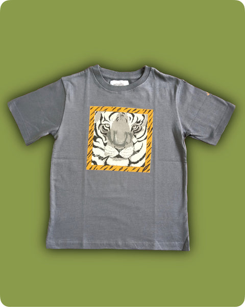 Dark Grey Tiger face printed T-Shirt - Kids