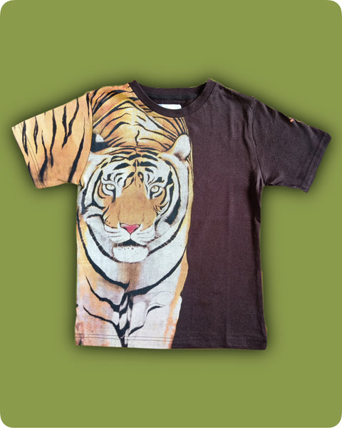 Brown tiger printed T-Shirt - Kids