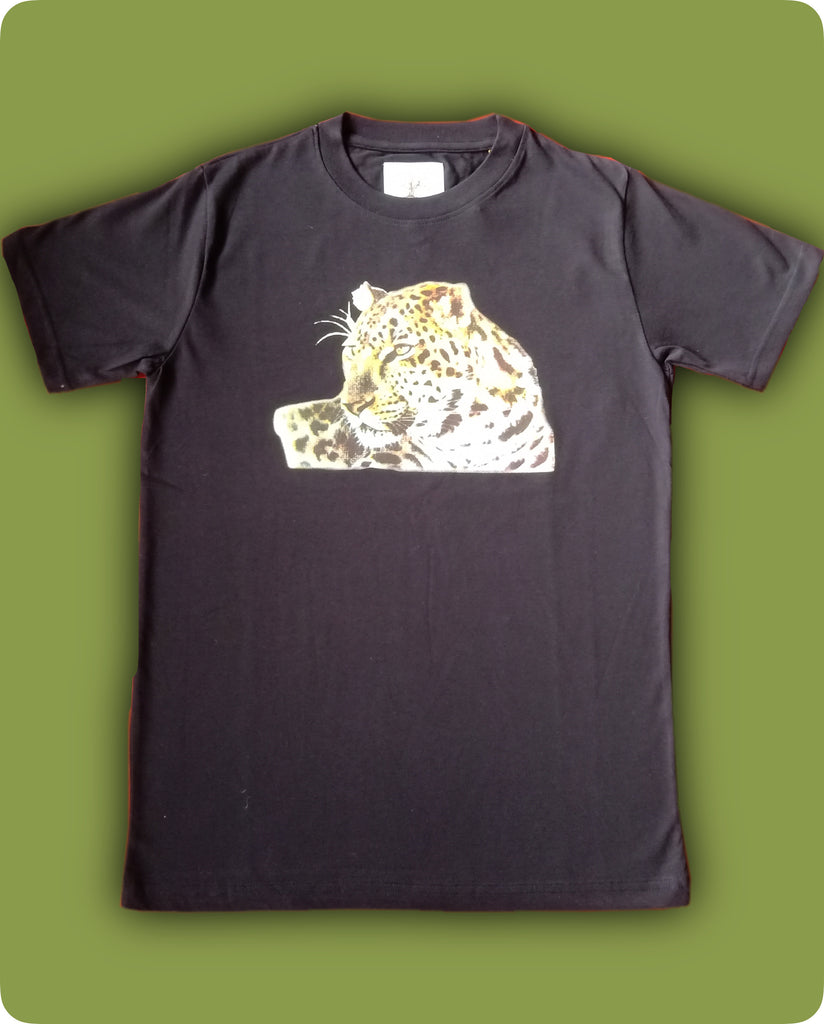 Black Leopard face printed T-Shirt - Adults