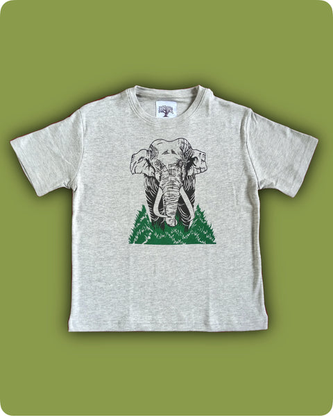 Grey Melange - Single Elephant printed t-shirts - Kids