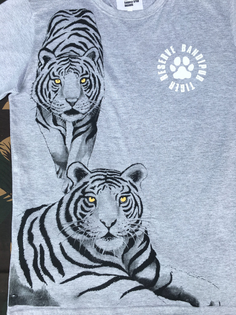 Grey Melange two tiger printed T-Shirt - Adults