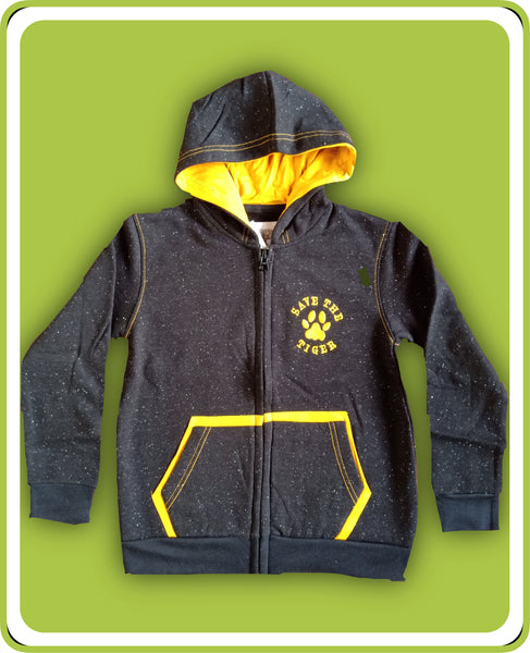 Black Long Sleeve Hooded Fleece Jacket - Kids