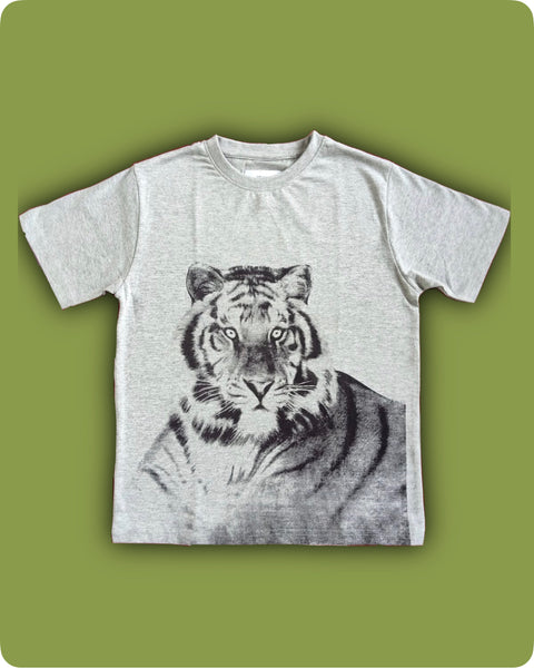 Grey Melange -Full tiger printed t-shirts - Kids