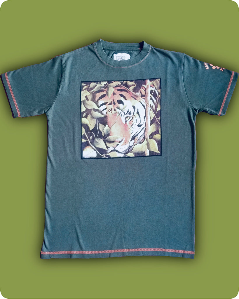 Green tiger camo face printed T-Shirt - Adults
