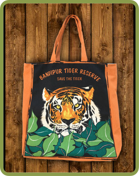 Cotton Bag With Zip - Black - Tiger printed