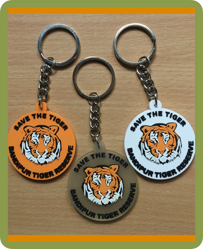 Tiger round Rubber Key Chain