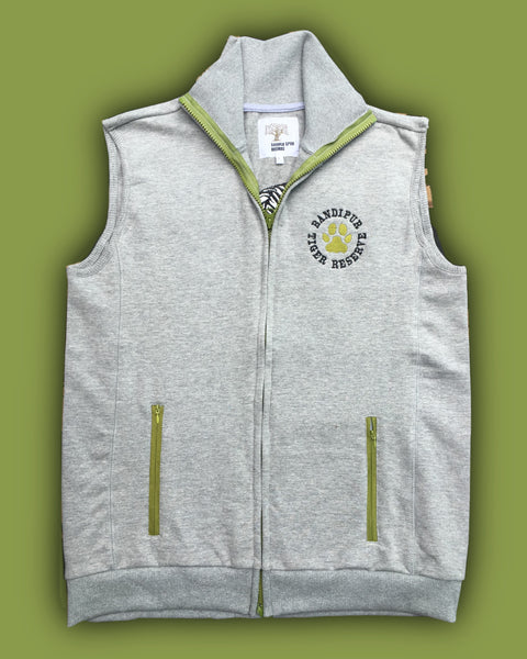 Grey melange sleeveless Fleece Jacket with long tiger embroidery - adults
