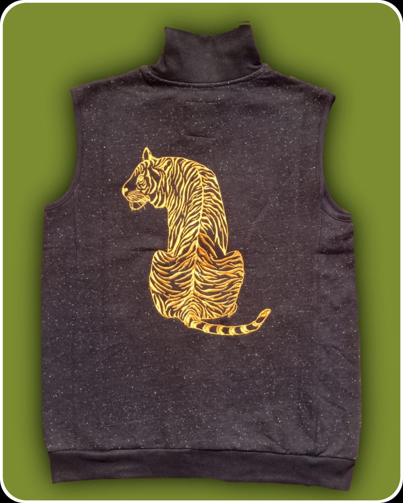 Black sleeveless Fleece Jacket with long tiger embroidery - adults