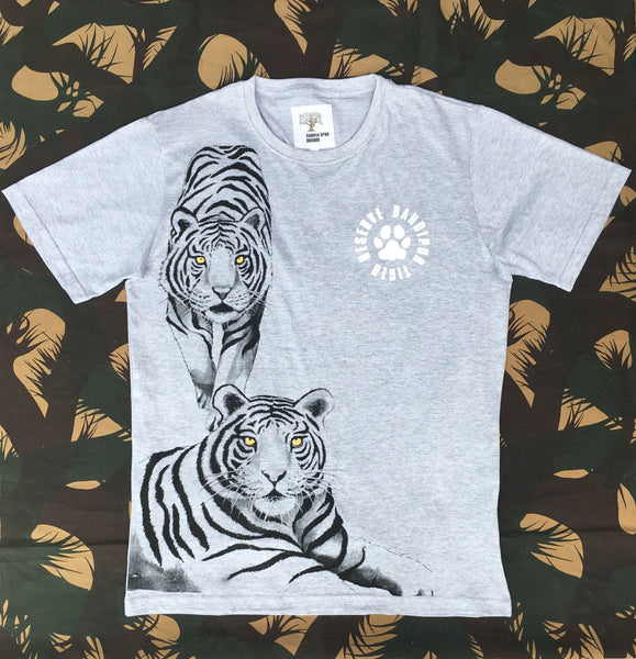Grey Melange two tiger printed T-Shirt - Kids