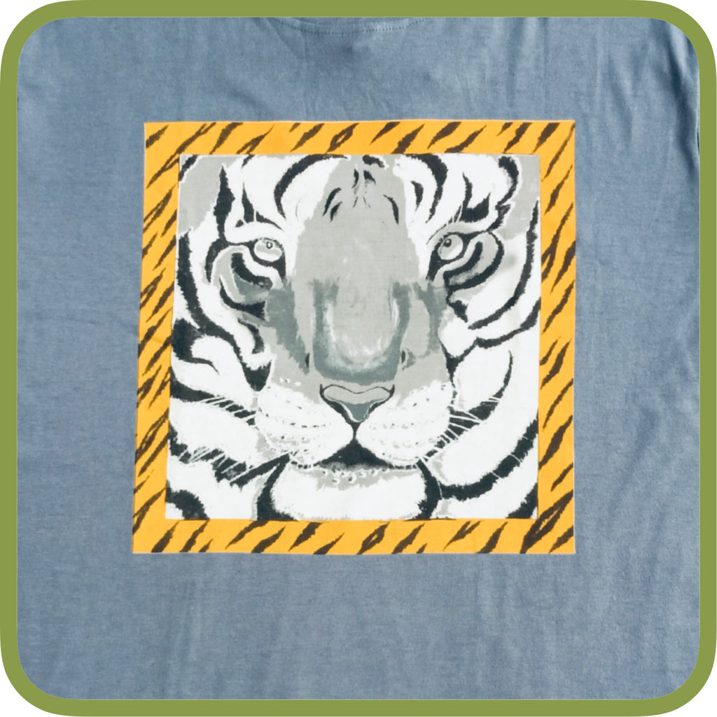 Dark Grey Tiger face printed T-Shirt - Adults