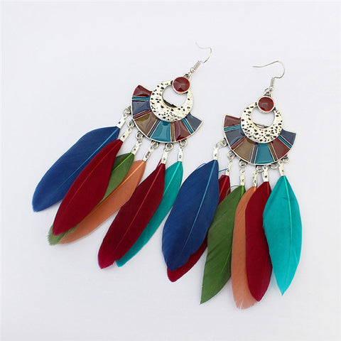 Handmade Feather tassel earrings
