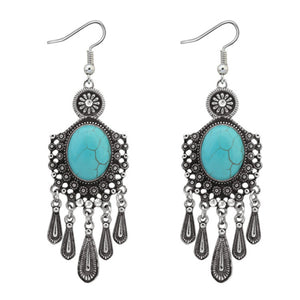 Ethnic bohemian dangle stone drop earring