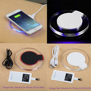 Universal Qi Mobile Wireless Charger with Quick Charging Energy Adapter Receptor 5V 1A