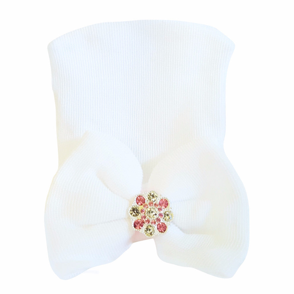 Newborn Baby Big Bow Hospital Hats with Rhinestones in White - Happy-Go-Cart