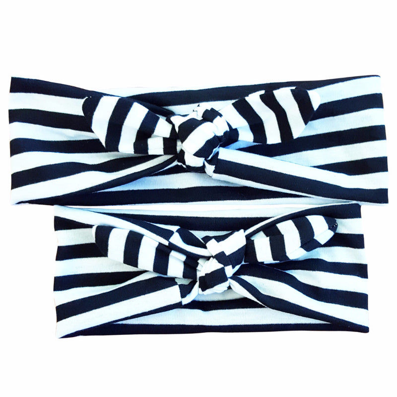 Mommy & Me Black-White Stripes Bowknot Headbands - Happy-Go-Cart
