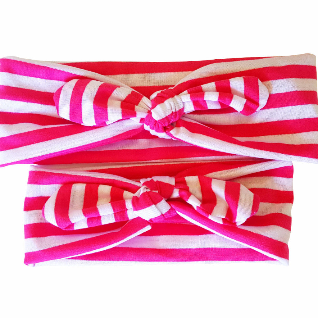 Mommy & Me Pink-White Stripes Bowknot Headbands - Happy-Go-Cart