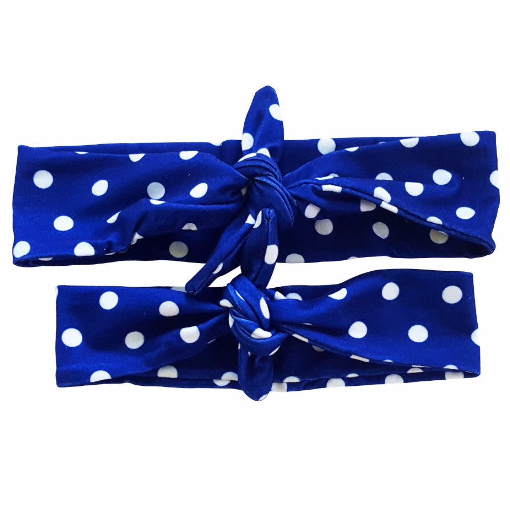 Navy-Blue Polka Dot Mommy & Me Tieknot Bowknot Headbands - Happy-Go-Cart