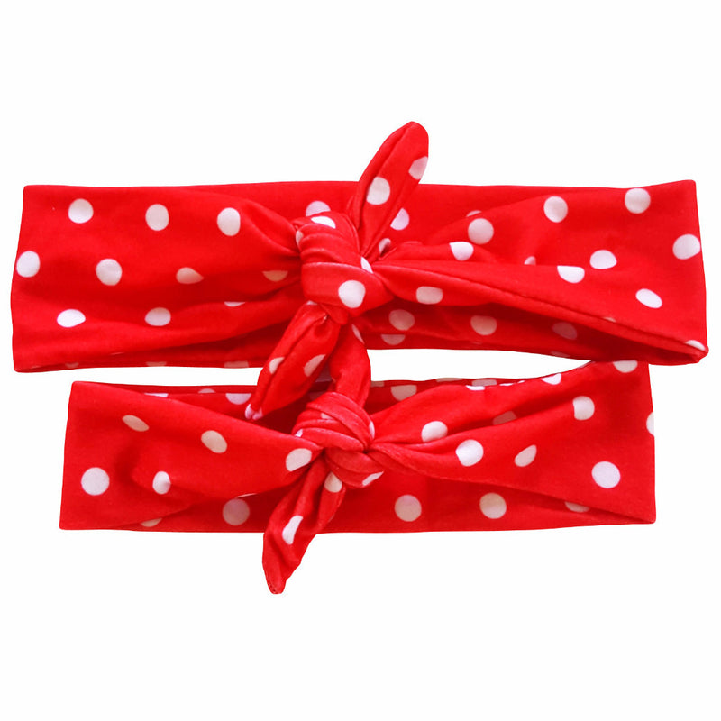 Red Polka Dot Mommy & Me Tieknot Bowknot Headbands - Happy-Go-Cart