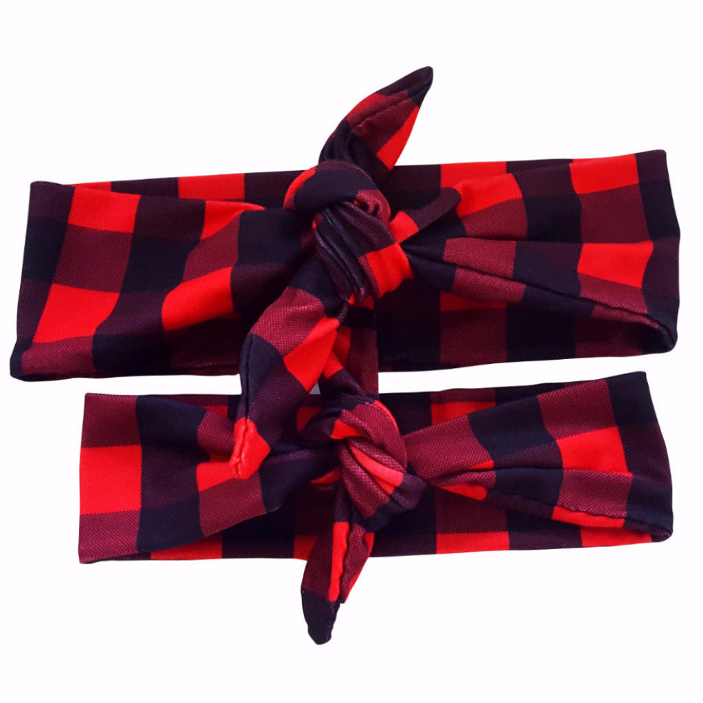 Red-Black Checkered Mommy & Me Tieknot Bowknot Headbands - Happy-Go-Cart