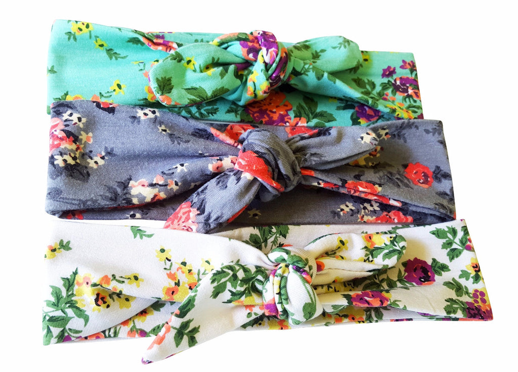 Floral Print Tieknot Bow Headbands 3 -Pack - Happy-Go-Cart