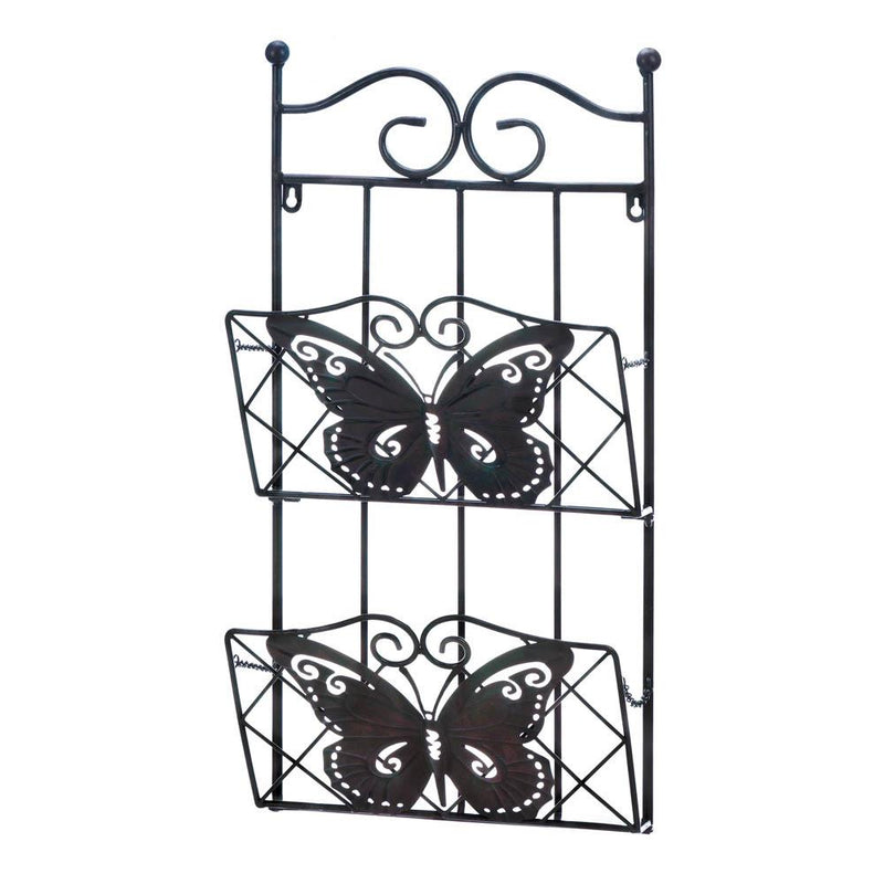 2-Tier Butterfly Magazine Wall Rack - Happy-Go-Cart