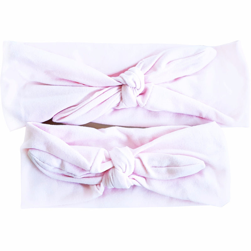 Solid Color-Light Pink Mommy & Me Bowknot Headbands - Happy-Go-Cart
