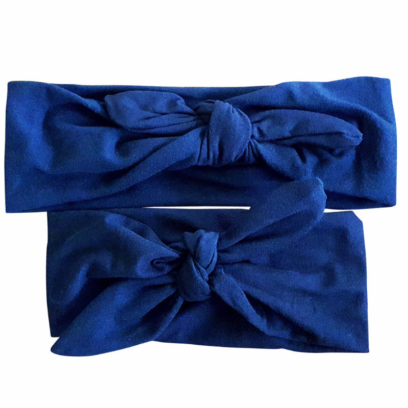 Solid Color-Navy Blue Mommy & Me Bowknot Headbands - Happy-Go-Cart