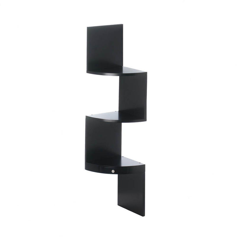 3-Tier Black Corner Shelf With Drawer - Happy-Go-Cart